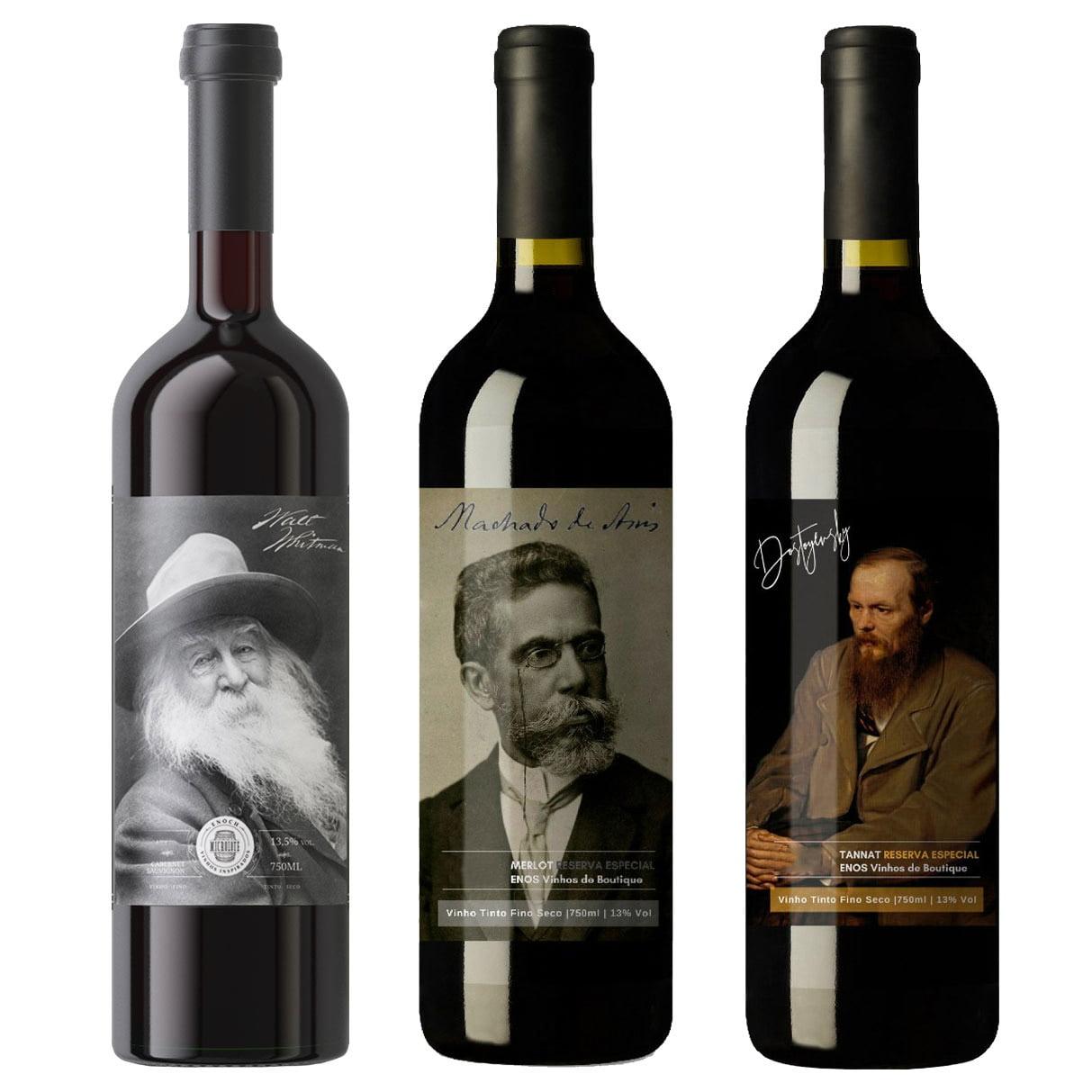 Kit Coleção Reserva Grandes Escritores com 3 Garrafas