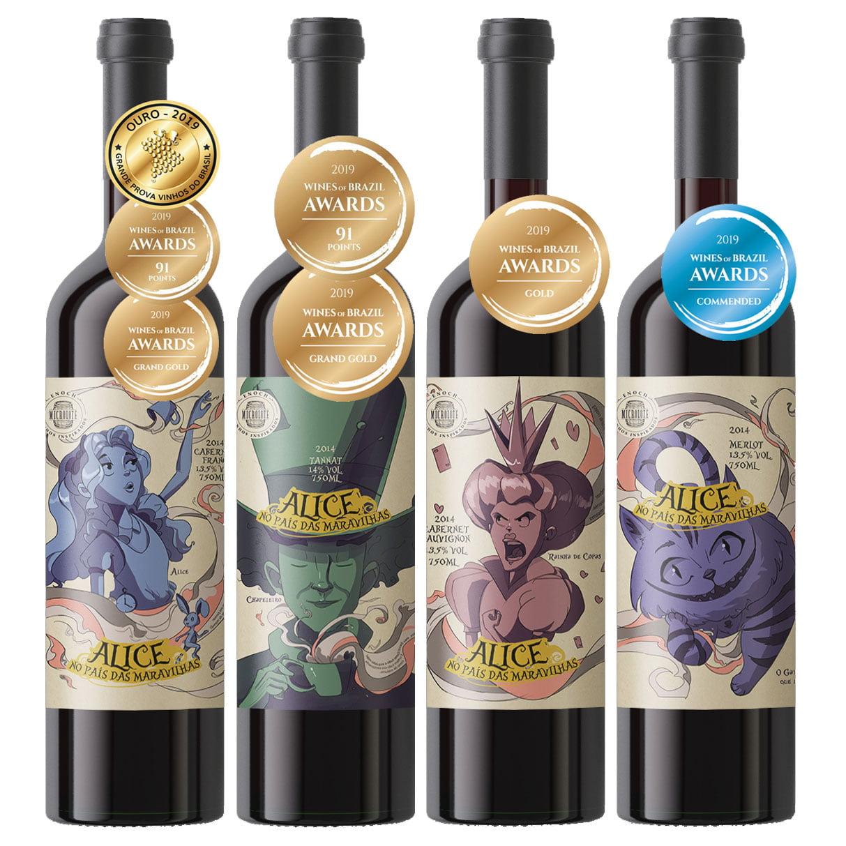 Kit Enos Enoch Premium Alice no País das Maravilhas com 4 Garrafas